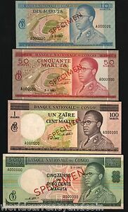 CONGO ZAIRE 10 50 100 5 1967 *SPECIMEN* MOBUTU UNC RARE x 4 PCS BANK NOTE SET