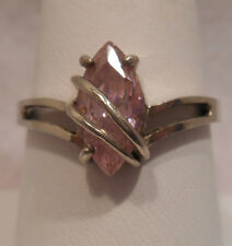 Vintage Antique Estate~Pink Topaz 925 Sterling Silver Ornate Ring Size 9.75