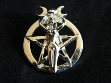 925 Sterling Silver GODDESS PENTAGRAM PENDANT/Pagan/Wicca/Witch/Triple Moon