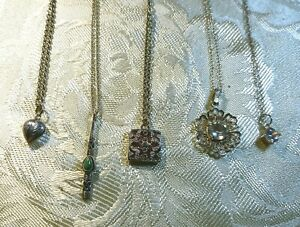 Vintage 925 Silver Necklaces with Pendants x 5 collection