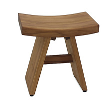 Asia Style Teak Wood Indoor/Outdoor Vanity Bench Stool, Bathroom, Spa, Backyard