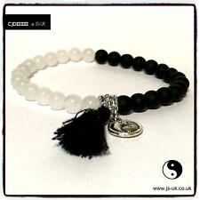 Holistic Healing Therapy YIN YANG Gemstone Bracelet with Charm & Black Tassel