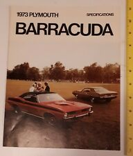 """RARE VINTAGE CANADIAN """"1973 PLYMOUTH BARRACUDA"""" SPECIFICATIONS BROCHURE-4 PAGES"""