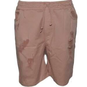 Pantaloncino uomo shorts man sportivo rosa tessuto leggero con riporto strappi m