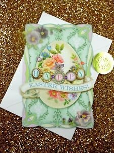 PUNCH STUDIO Jeweled EASTER GREETING CARD Vintage Style IRIDESCENT GLITTER New!