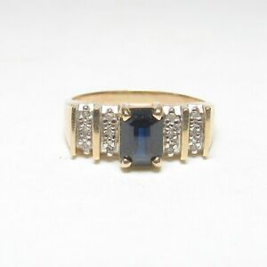 ALWAND VAHAN 14K Yellow Gold 1.25 Ct Natural Navy Blue Sapphire And Diamond Ring