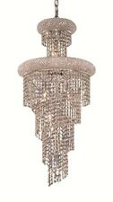 "World Crystal Spiral 10 Light 36'"" Dining foyer Crystal Chandeliers Light Chrome"