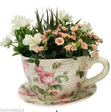 Shabby Rose Large Ceramic Tea Cup & Saucer  Rose Pot Planter  34CM