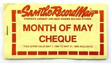Vintage May 1 1980 Sam The Record Man Month of May Cheque Coupons Q072