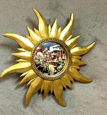 Glace / miroir soleil doré avec oeil de sorcière de style années 1970 Diam 44,5