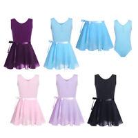 Girls Ballet Dance Gymnastics Leotard with Chiffon Wrap Skirt Dancer Outfit Set