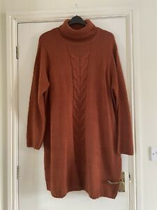 Ladies Roll Neck Jumper Dress Size 24/26 Burnt Orange Worn Once