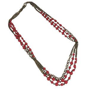"J. Crew Statement Necklace Antique Gold Tone Orange bead Multi-chain 28"""