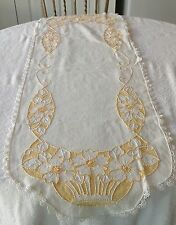 Vintage White Table Runner With Lace Trim Embroidered Golden Yellow & White