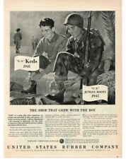 1945 U.S. RUBBER COMPANY Keds Sneakers Army Jungle Boots art Vintage Print Ad