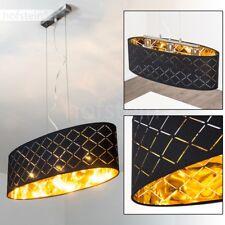Ovale Hänge Beleuchtung Ess Tisch Wohn Zimmer Küche Textil Schwarz/Gold Luxus