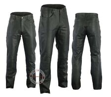 42 Size Mens Cowhide Black Leather Pant 5 Pocket Jeans Style Straight Legs Model