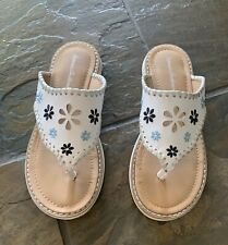 Hanna Andersson Little Girl Size 1 White Sandals VGUC