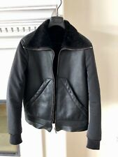Rick Owens shearling black leather jacket EU50 US Medium