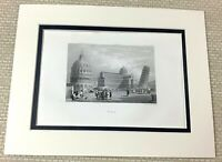 1860 Antique Engraving Print The Leaning Tower of Pisa Italy Baptistery Old