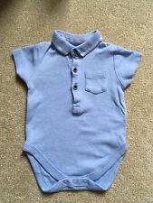 d2f785c7ef Boy s Next Short Sleeved Blue Bodysuit with Collar - 3-6 months