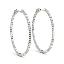 1.5ct Round Cut VVS1D Diamond LARGE Inside Out Hoop Earring 9ct Solid White Gold