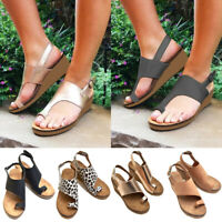 Women's Leather Thong Slingbacks Sandals Toe Ring Wedges Espadrilles Shoes Size