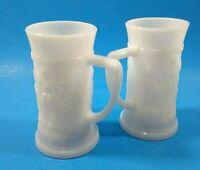 Vintage White Milk Glass Mugs Beer Steins Set of 2 Raised Pub Scene Tankard Cups