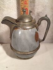 "Gray Graniteware Pewter Trimmed Molasses or Syrup Pitcher 6"" Tall Granite Ware"