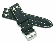 22mm Black HQ Double Rivet Style Oily Cowhide Leather Watch Band Silver Buckle