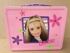 Barbie Doll Pink Flower Tin Lunch Box Sealed 1998 & 2 Barbie Dolls NIB
