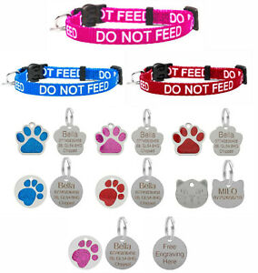 Cat Collar DO NOT FEED In Red Pink Blue, Safety Release Optional Engraved ID Tag