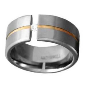 8mm Round Cubic Zirconia Gold Tone Center Strip Satin Titanium Man Wedding Band