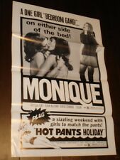 Monique & Hotpants Holiday folded movie poster Adult Film X rated lesbian