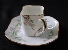 1894 W GUERIN LIMOGES Signed Bone China APPLE BLOSSOM Set Demitasse Cup Saucer