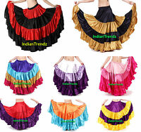 MixColor Satin 6 or 12 or 25 Yard Tiered Gypsy Skirt Belly Dance Ruffle Flamenco