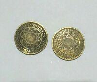 vintage coin very old money moroccan 2pcs 50 francs 1371-1952 empire cherifien