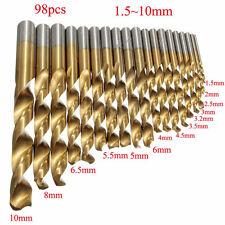 Spiralbohrer 98pc Bohrer Set HSS Metallbohrer Spiralbohrer Holzbohrer 1.5mm-10mm