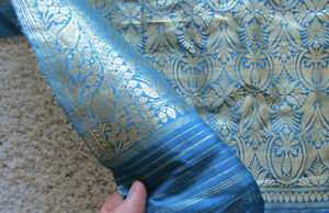 """Beautiful turquoise blue silk sari cloth with gold designs, ~43"""" wide, 190"""" long"""
