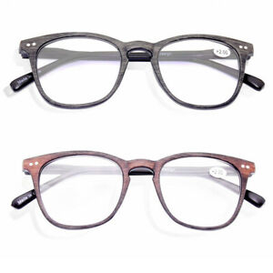 Retro Reading Glasses Spring Hinges Wood Grain 1.0 1.5 2.0 2.5 3.0 3.5 4.0 J