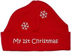 Mein erstes Weihnachten Baby Beanie Mütze, Cap Xmas Gift Santa Newborn - 12 Monate
