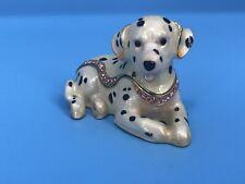 "Kubla Craft Enameled Dalmatian Dog Hinged Trinket Box Austrian Crystals 3"""