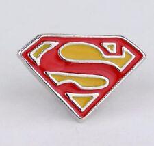 Superman Brooch 3D Silver Tone Pin Not Cufflinks Super Man Logo Badge Yellow Red