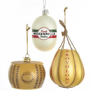 Set/3 Kurt Adler Italian Cheese Food Restaurant Christmas Tree Ornaments Decor
