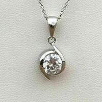 2 Carat Round Cut VVS1 Diamond Solitaire Pendant Necklace 14K White Gold Finish