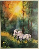 Unicorn Poster 2 White Lithograph Print Impact #20405 Wall Art Sunlight Forest