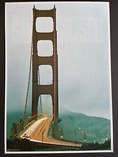ORIGINAL 1960s SAN FRANCISCO CALIFORNIA TRAVEL POSTER VINTAGE GOLDEN GATE BRIDGE