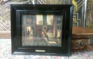 Antique Victorian Ebonised Black Wooden Framed print of  Dutch Interior Painting