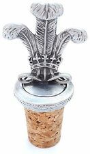 Welsh Three Feathers Handcrafted From English Pewter Bottle Stopper + Gift Bag