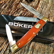 "BOKER PLUS Stockman Folding Pocket Knife 3 1/4"" ORANGE Handles NEW BO234O L"